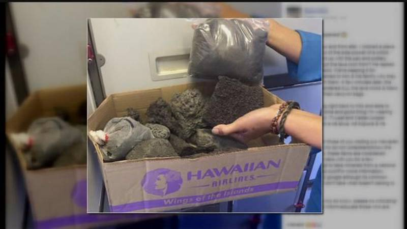 Visiting family returns trove of lava rocks after spotted by flight attendant