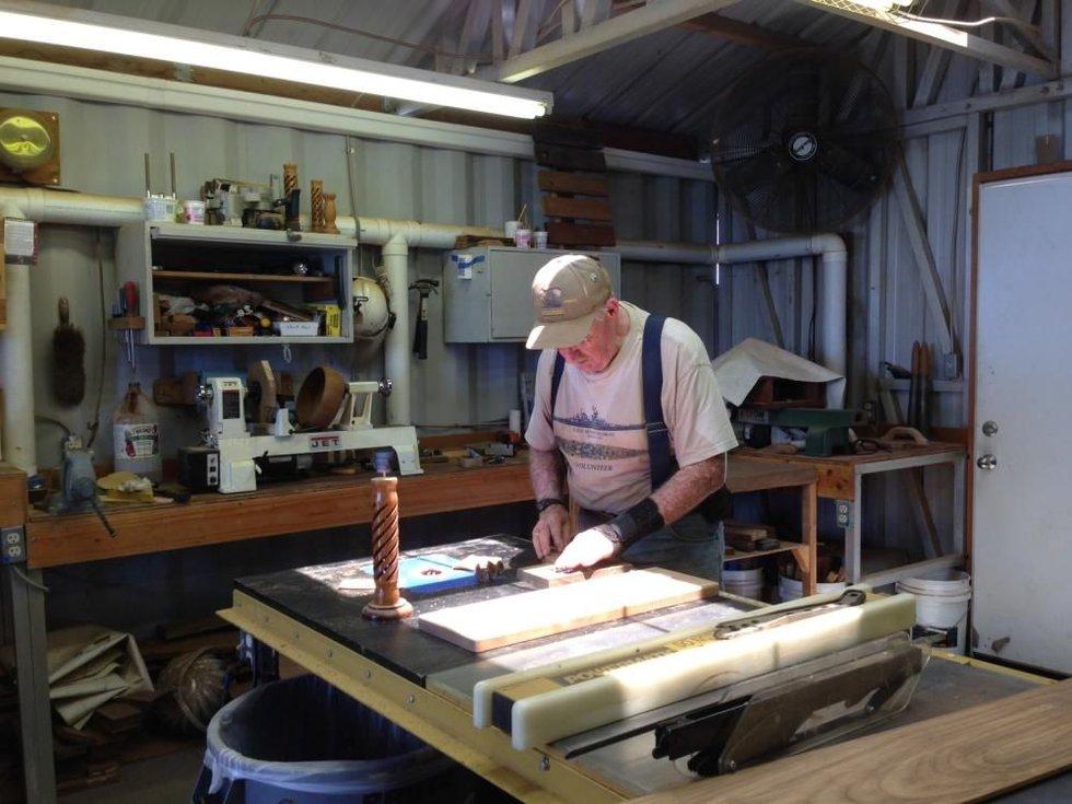 Bob Albin in his shop