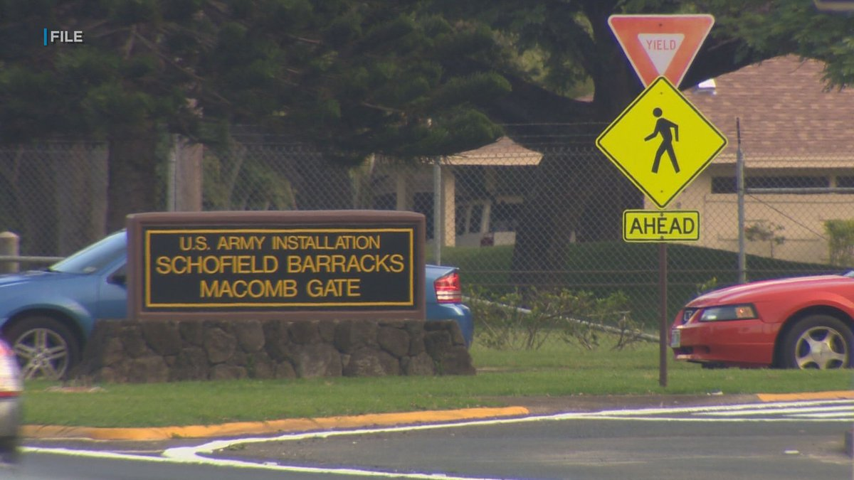 The Macomb Gate entrance to Schofield Barracks in Central Oahu.