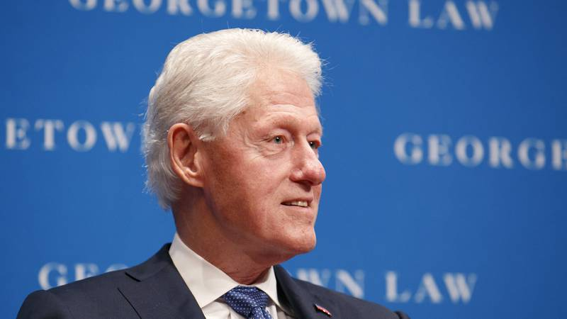 FILE - Former President Bill Clinton speaks, Wednesday, Oct. 30, 2019, at Georgetown Law's...