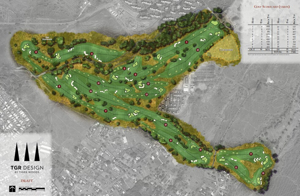 Rendering of the North Course at the Makaha Valley Resort, designed by Tiger Woods and his TGR...
