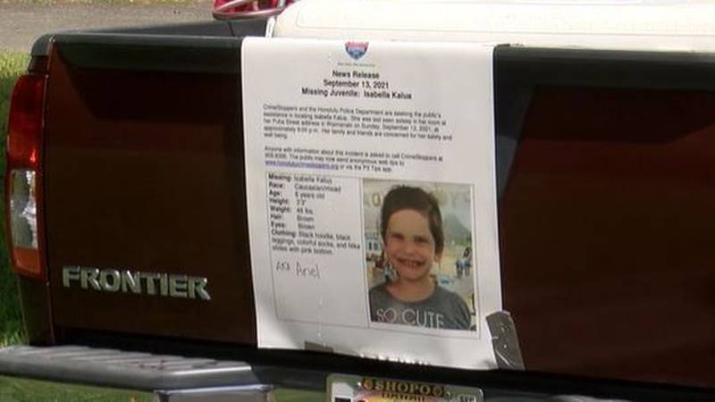 The search continues for 6-year-old Isabella Kalua, who was last seen Sunday night.