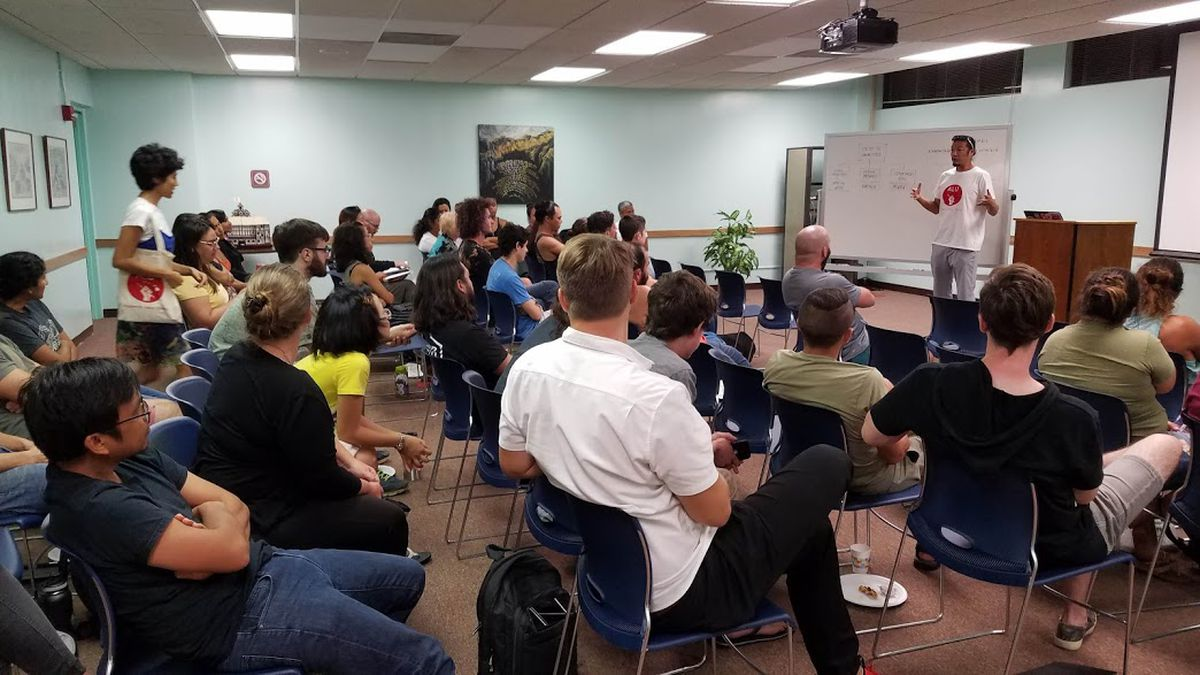 Graduate students at the University of Hawaii at Manoa gather to talk about a push to unionize....