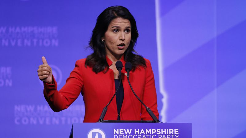Democratic presidential candidate U.S. Rep. Tulsi Gabbard, D-Hawaii, speaks during the New...