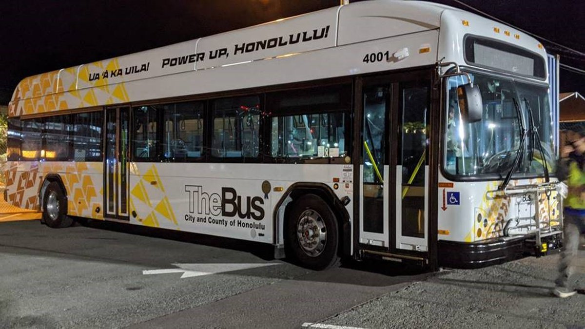The new all-electric TheBus, as seen on the docks in Honolulu upon arrival.