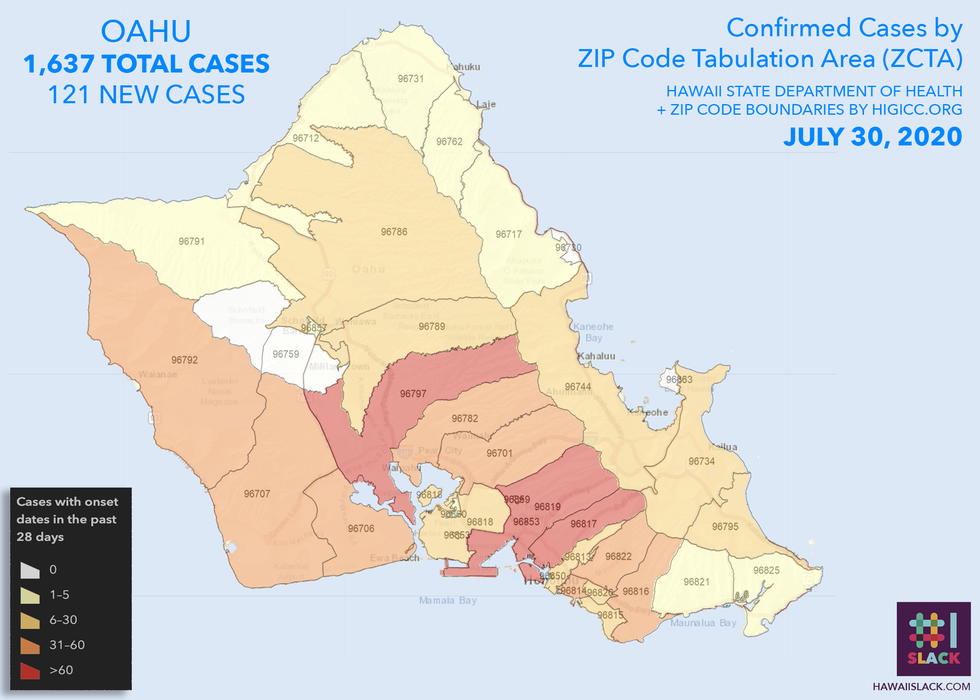 Several zip codes on Oahu have 60 or more active cases, according to the Health Department.