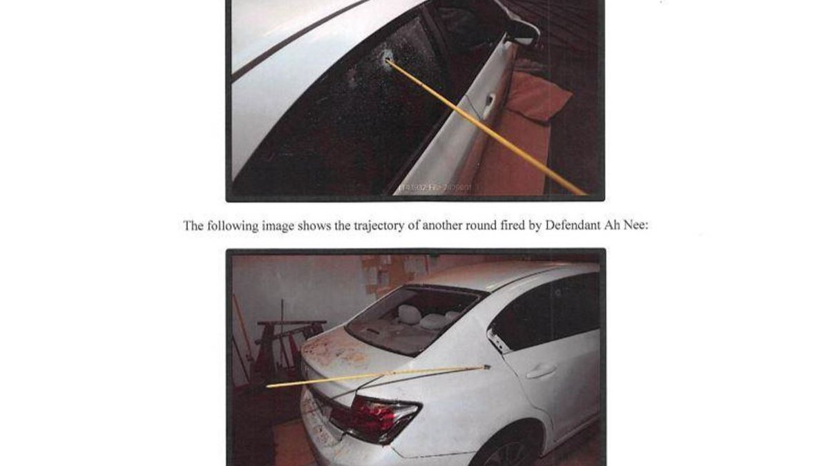 The rods indicate the trajectory of the bullets, in this case, fired allegedly by Defendant Ah...