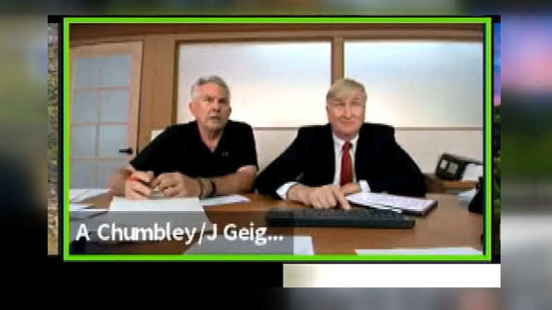 Avery Chumbley, president of Wailuku Water Company, appears virtually with his attorney Jim...