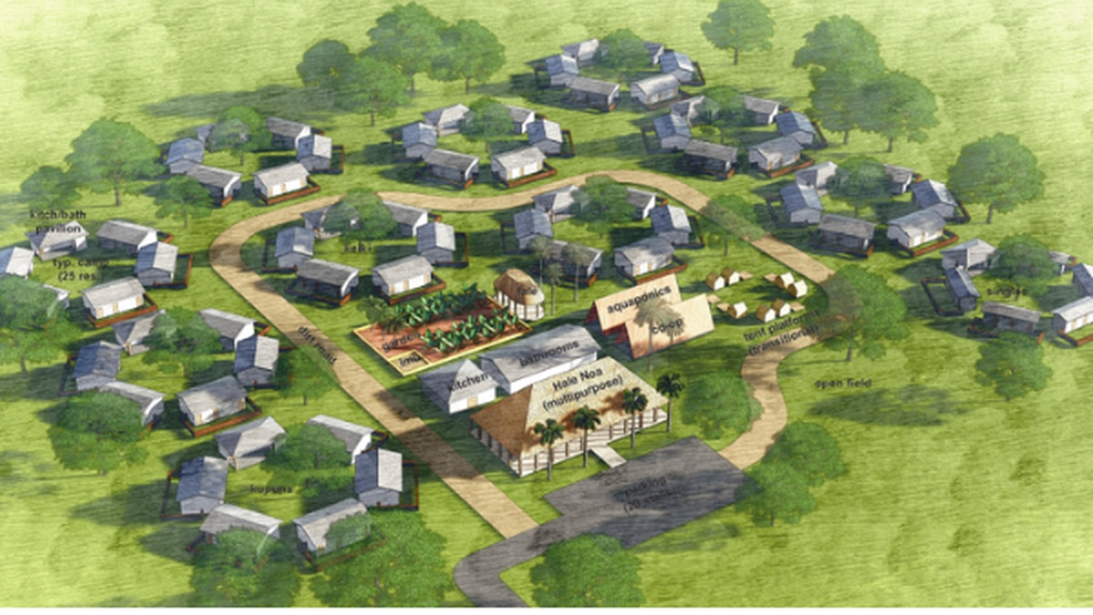 Camp leader Twinkle Borge says this rendering is the vision for the new village.
